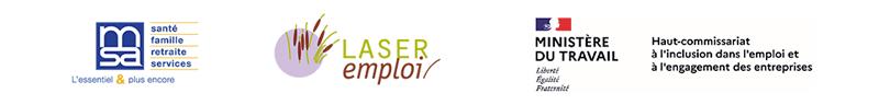 Logos MSA, Laser emploi et Ministère du travail